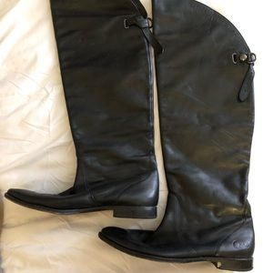 Knee High Black leather Coach riding boots